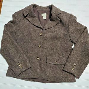 LL Bean Vintage wool plaid riding blazer jacket M